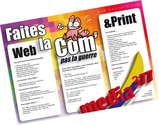 Dépliant présentant les services Web & Print de Media 377.