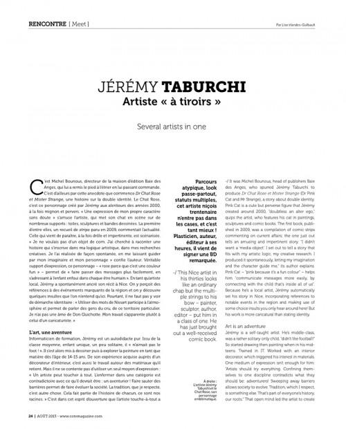 Article de presse dans Côte Magazine sur Jérémy Taburchi. © Côte Magazine 2013.