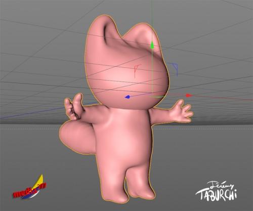 Modélisation 3D du Chat Rose de Jérémy Taburchi par le studio créatif Media 377.